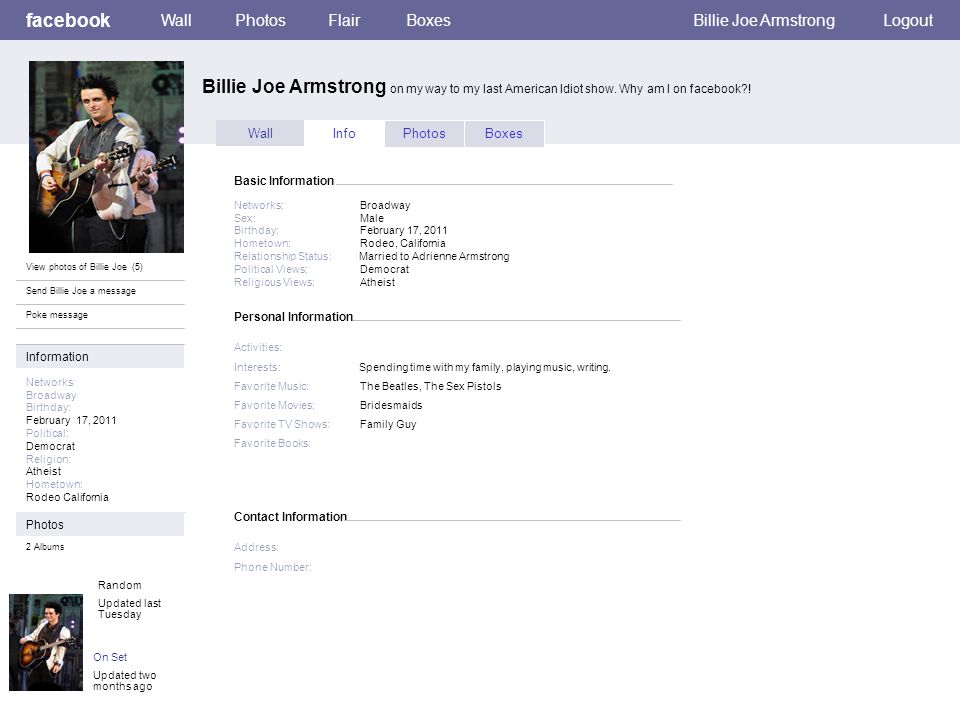 Personal Information facebook Billie Joe Armstrong on my way to my last American Idiot show.