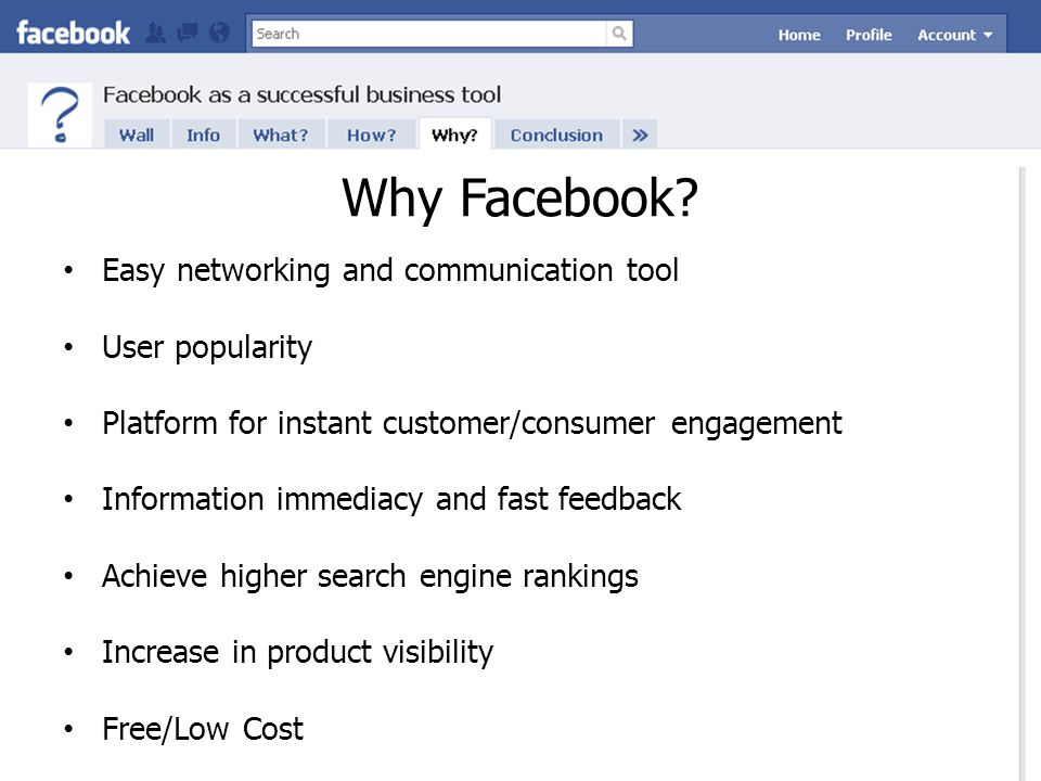 Why Facebook? Easy networking and communication tool User popularity Platform for instant customer/consumer engagement Information immediacy and fast