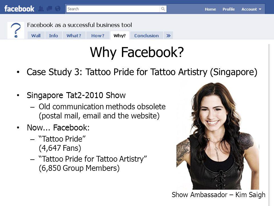 Why Facebook? Show Ambassador – Kim Saigh Case Study 3: Tattoo Pride for Tattoo Artistry (Singapore) Singapore Tat2-2010 Show – Old communication meth