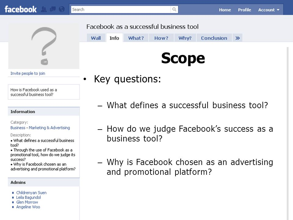 Scope Key questions: – What defines a successful business tool.