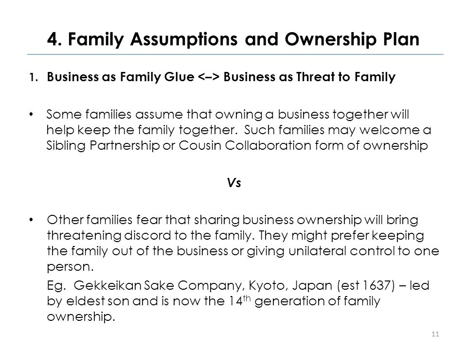 4. Family Assumptions and Ownership Plan 1.