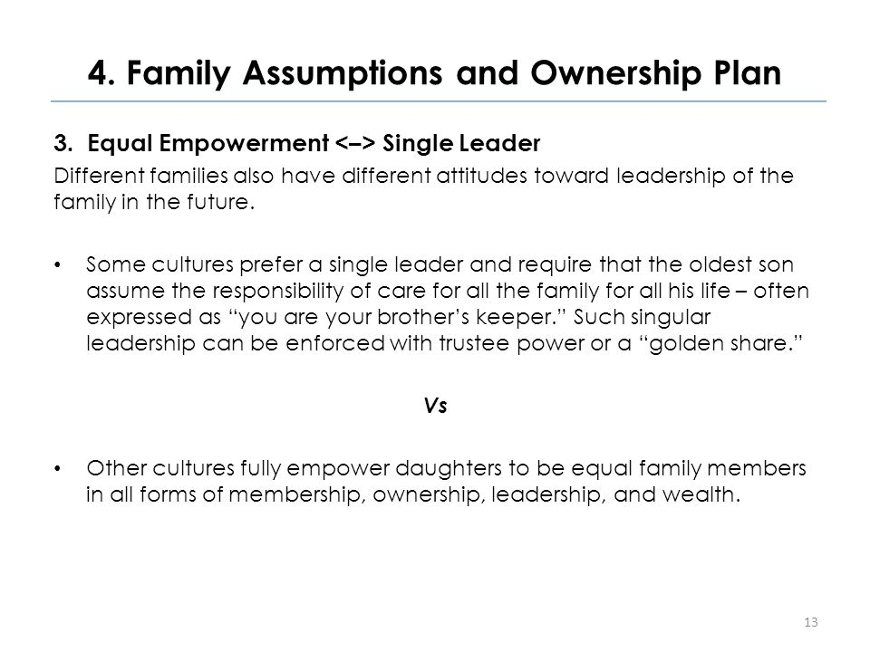 4. Family Assumptions and Ownership Plan 3.Equal Empowerment Single Leader Different families also have different attitudes toward leadership of the f