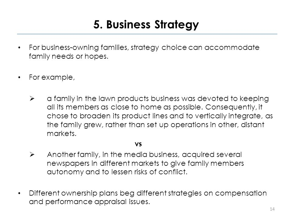 5. Business Strategy For business-owning families, strategy choice can accommodate family needs or hopes. For example,  a family in the lawn products