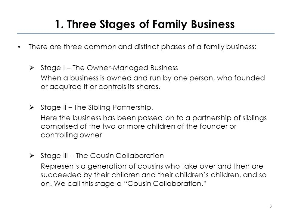1. Three Stages of Family Business There are three common and distinct phases of a family business:  Stage I – The Owner-Managed Business When a busi