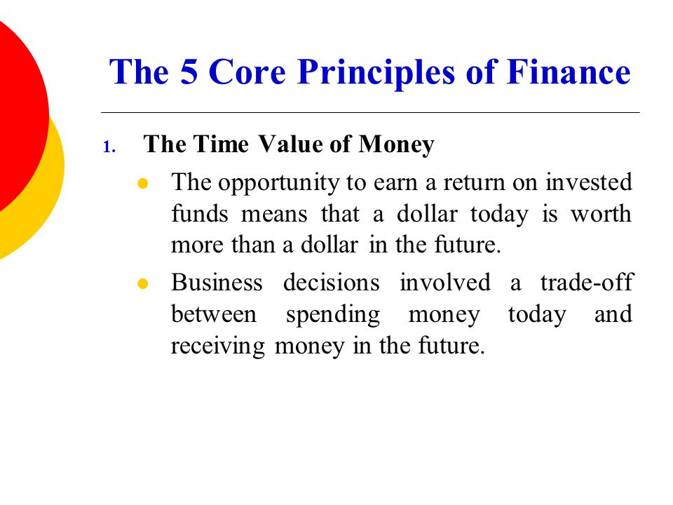 The 5 Core Principles of Finance 1. The Time Value of Money The opportunity to earn a return on invested funds means that a dollar today is worth more
