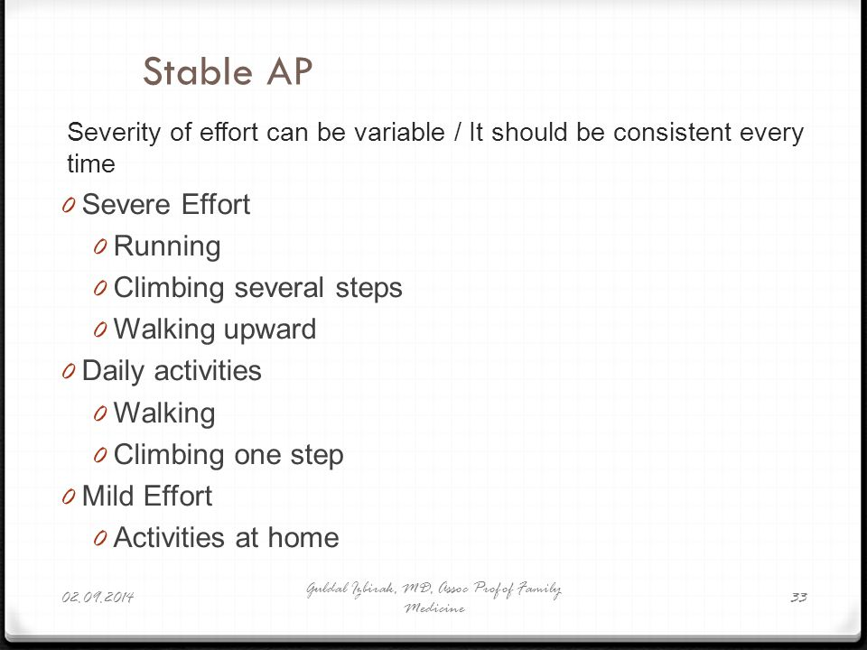 Severity of effort can be variable / It should be consistent every time 0 Severe Effort 0 Running 0 Climbing several steps 0 Walking upward 0 Daily ac