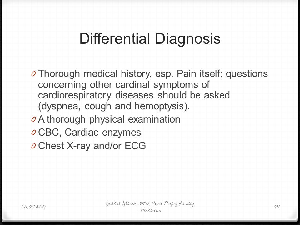 Differential Diagnosis 0 Thorough medical history, esp. Pain itself; questions concerning other cardinal symptoms of cardiorespiratory diseases should