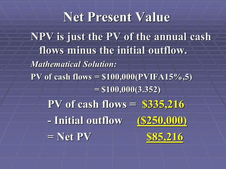 Net Present Value NPV is just the PV of the annual cash flows minus the initial outflow.