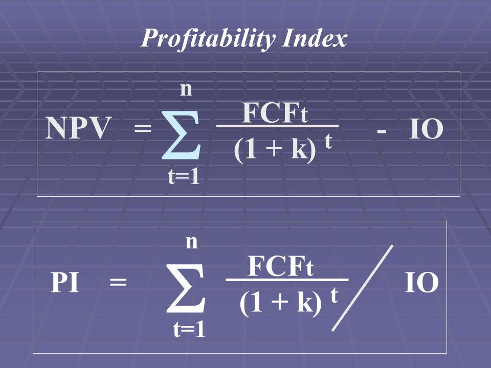 Profitability Index PI = IO FCF t (1 + k) n t=1  t NPV = - IO FCF t (1 + k) t n t=1 
