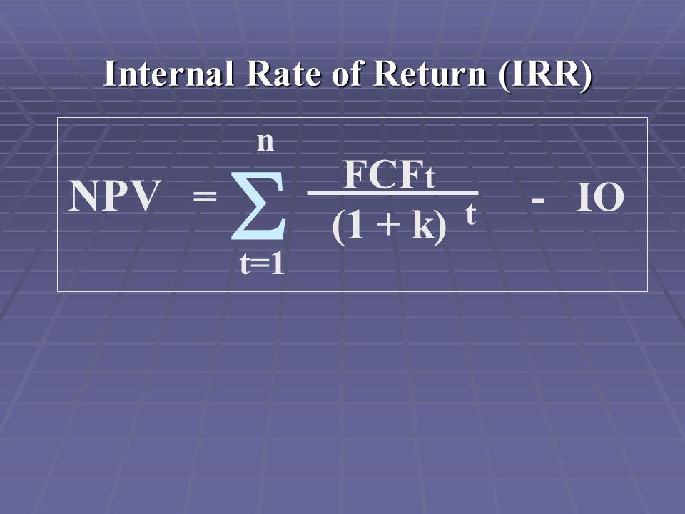 Internal Rate of Return (IRR) NPV = - IO FCF t (1 + k) t n t=1 