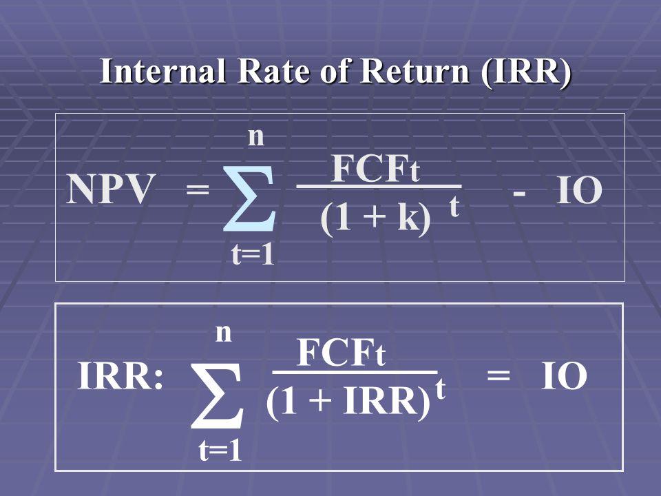 Internal Rate of Return (IRR) NPV = - IO FCF t (1 + k) t n t=1  n t=1  IRR: = IO FCF t (1 + IRR) t