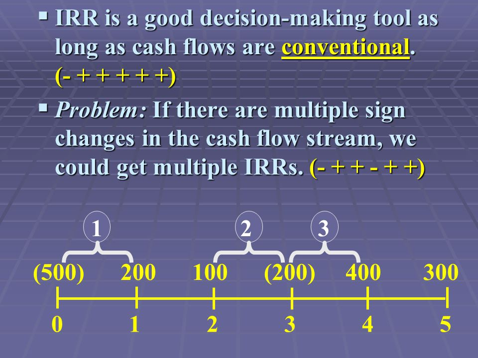 IRR is a good decision-making tool as long as cash flows are conventional.