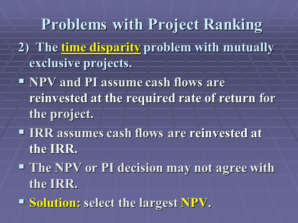 Problems with Project Ranking 2) The time disparity problem with mutually exclusive projects.