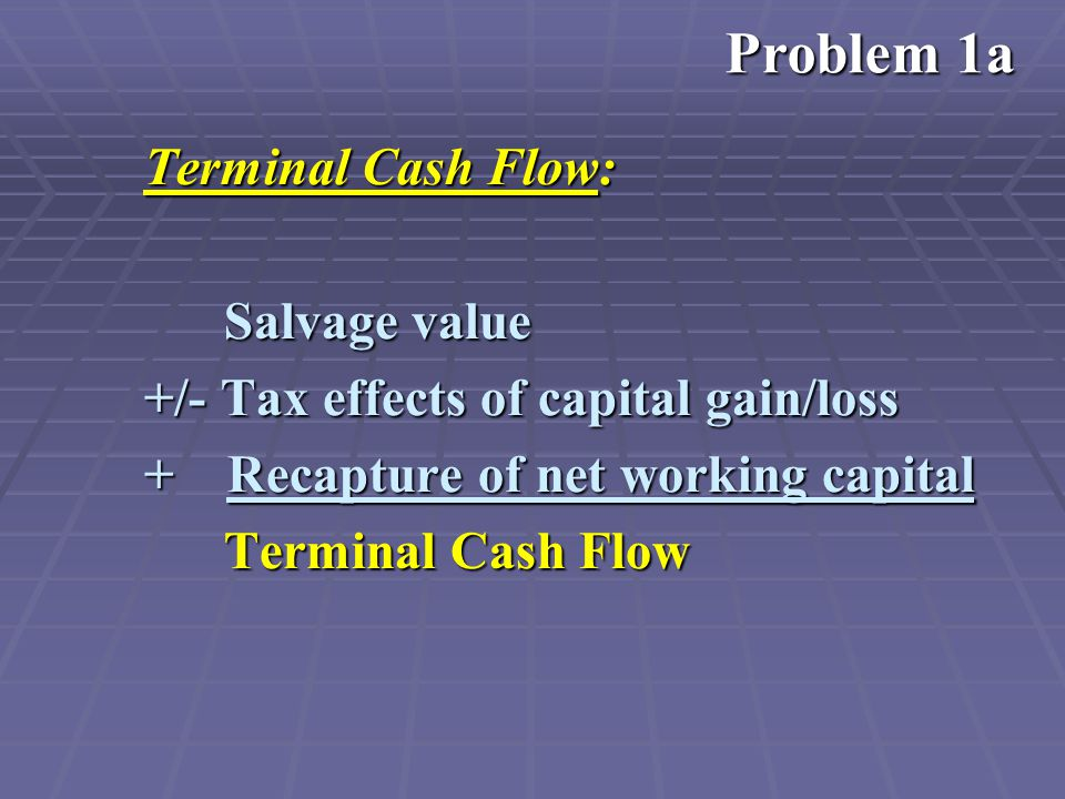 Terminal Cash Flow: Salvage value Salvage value +/- Tax effects of capital gain/loss + Recapture of net working capital Terminal Cash Flow Terminal Cash Flow Problem 1a