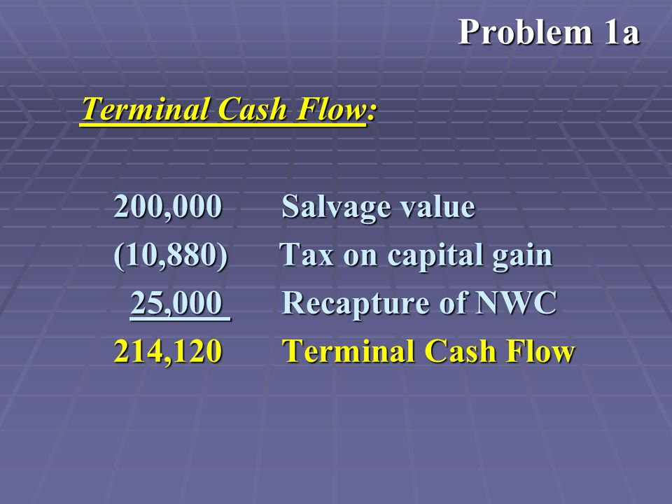 Terminal Cash Flow: 200,000 Salvage value 200,000 Salvage value (10,880) Tax on capital gain (10,880) Tax on capital gain 25,000 Recapture of NWC 25,000 Recapture of NWC 214,120 Terminal Cash Flow 214,120 Terminal Cash Flow Problem 1a