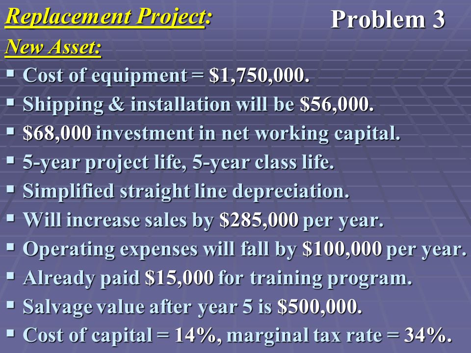 Replacement Project: New Asset:  Cost of equipment = $1,750,000.