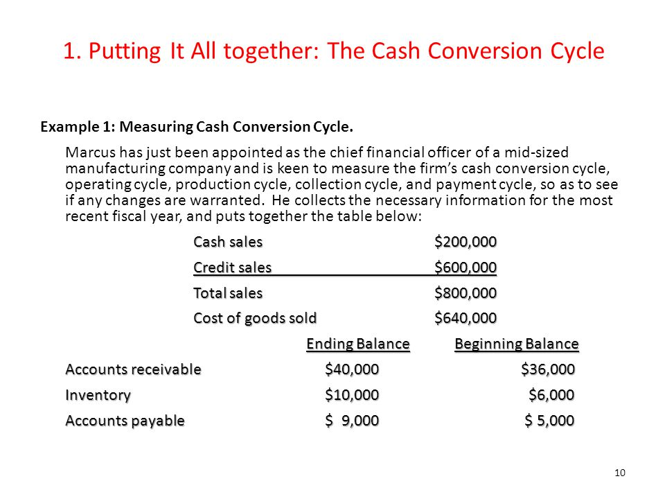 1. Putting It All together: The Cash Conversion Cycle Example 1: Measuring Cash Conversion Cycle. Marcus has just been appointed as the chief financia