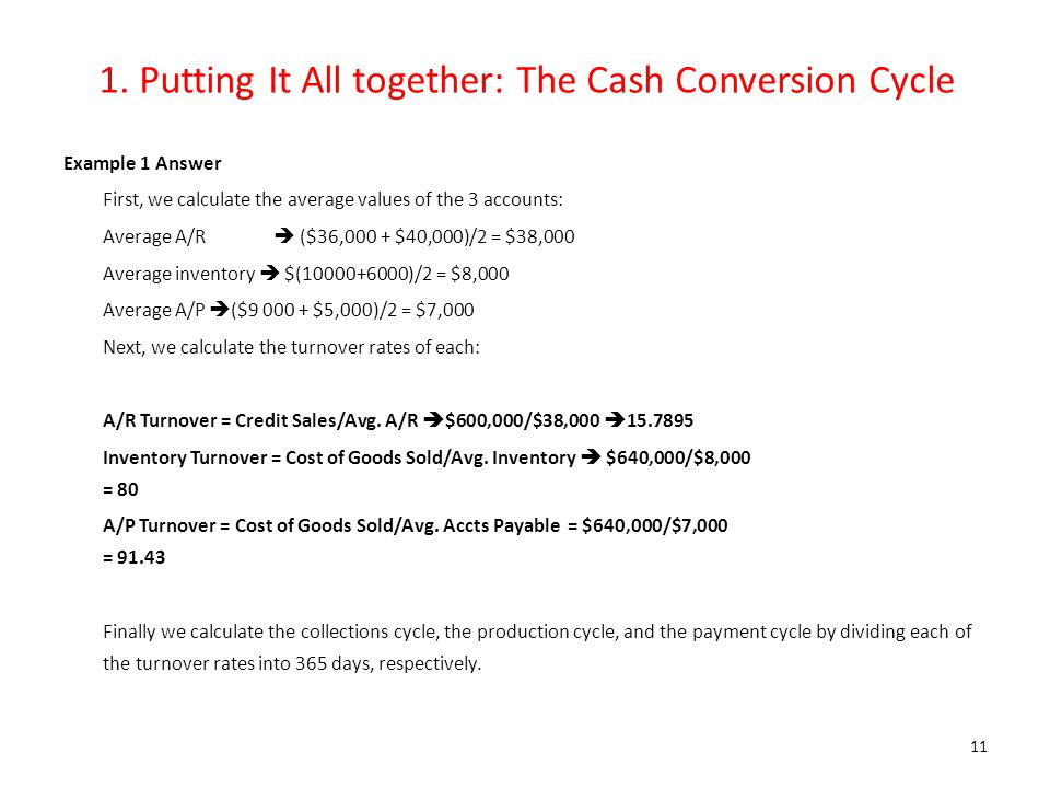 1. Putting It All together: The Cash Conversion Cycle Example 1 Answer First, we calculate the average values of the 3 accounts: Average A/R  ($36,00