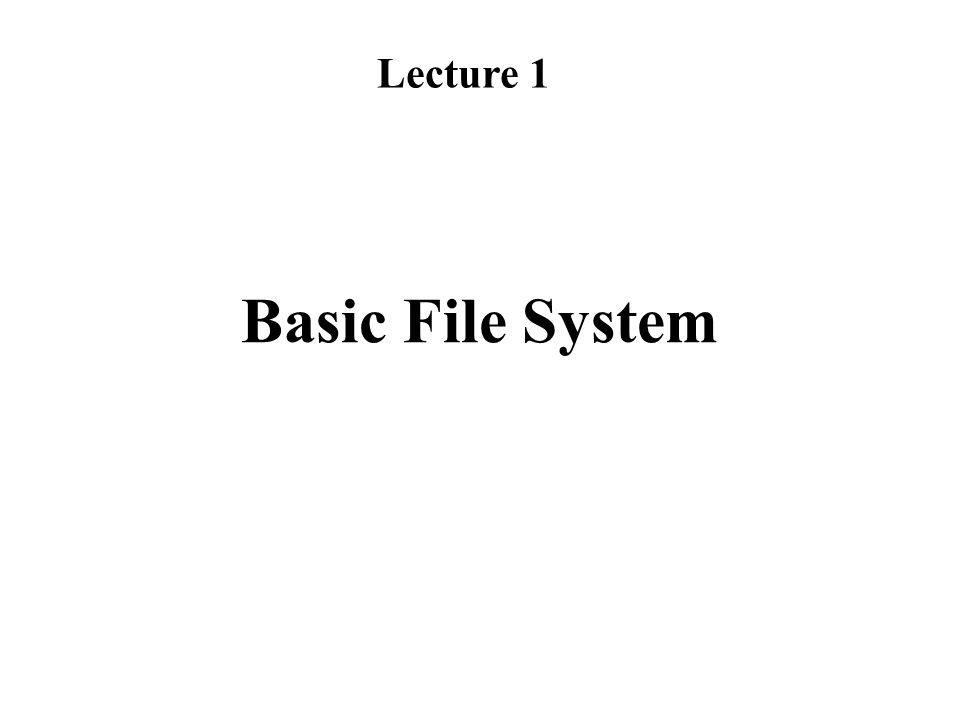 Basic File System Lecture 1