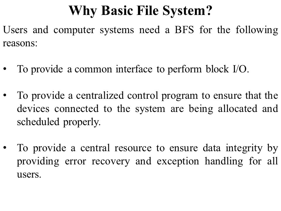 Why Basic File System.