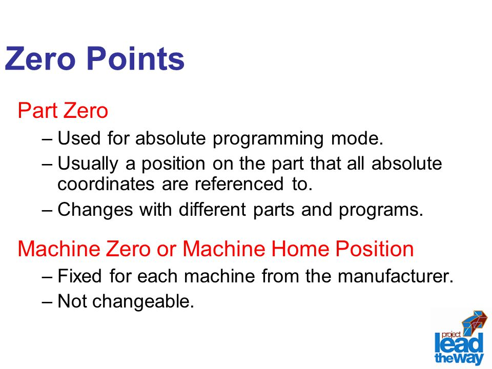 Zero Points Part Zero –Used for absolute programming mode.