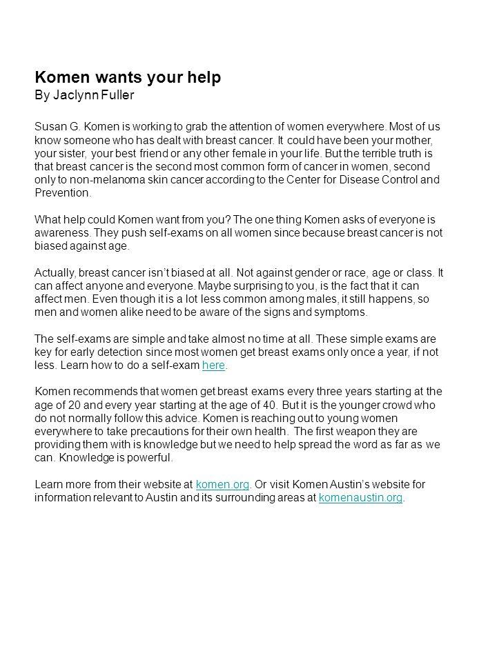 Komen wants your help By Jaclynn Fuller Susan G.