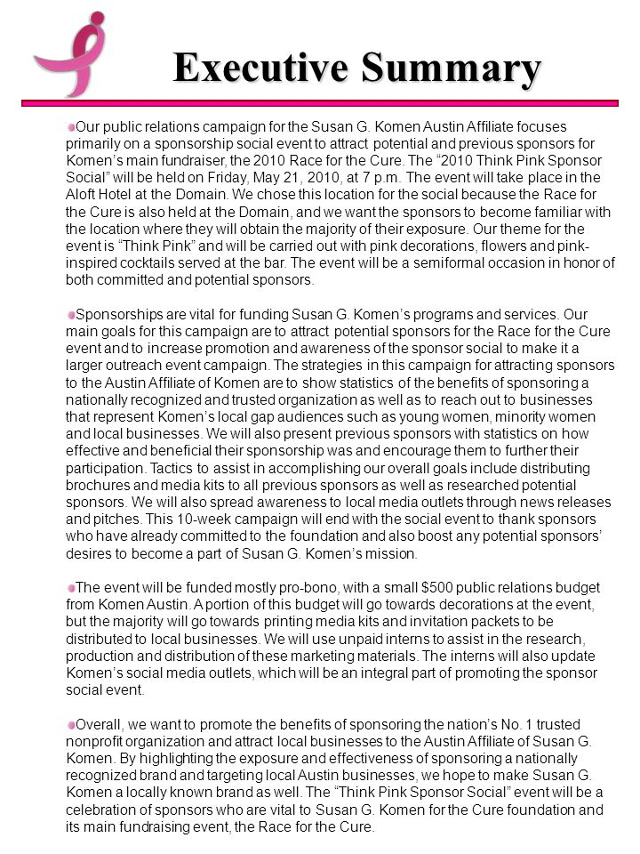 Executive Summary Our public relations campaign for the Susan G.
