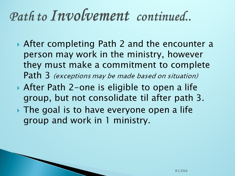 Students must have attended an Encounter, and completed the Level 1: Path to Belonging before beginning the path to Involvement. ****Since we don't ha