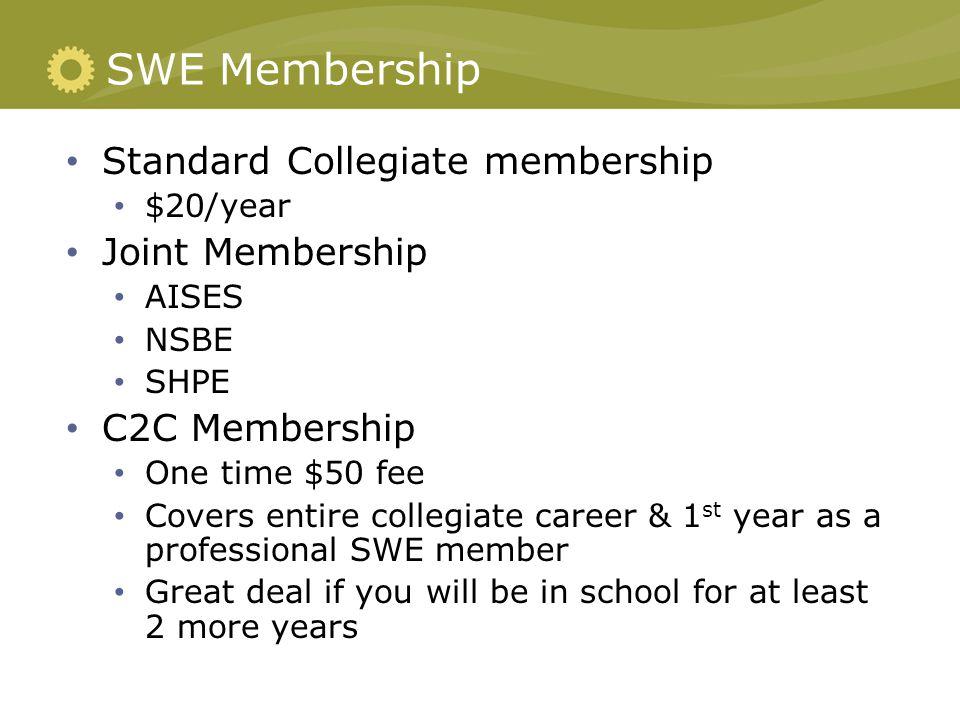 SWE Membership Standard Collegiate membership $20/year Joint Membership AISES NSBE SHPE C2C Membership One time $50 fee Covers entire collegiate caree