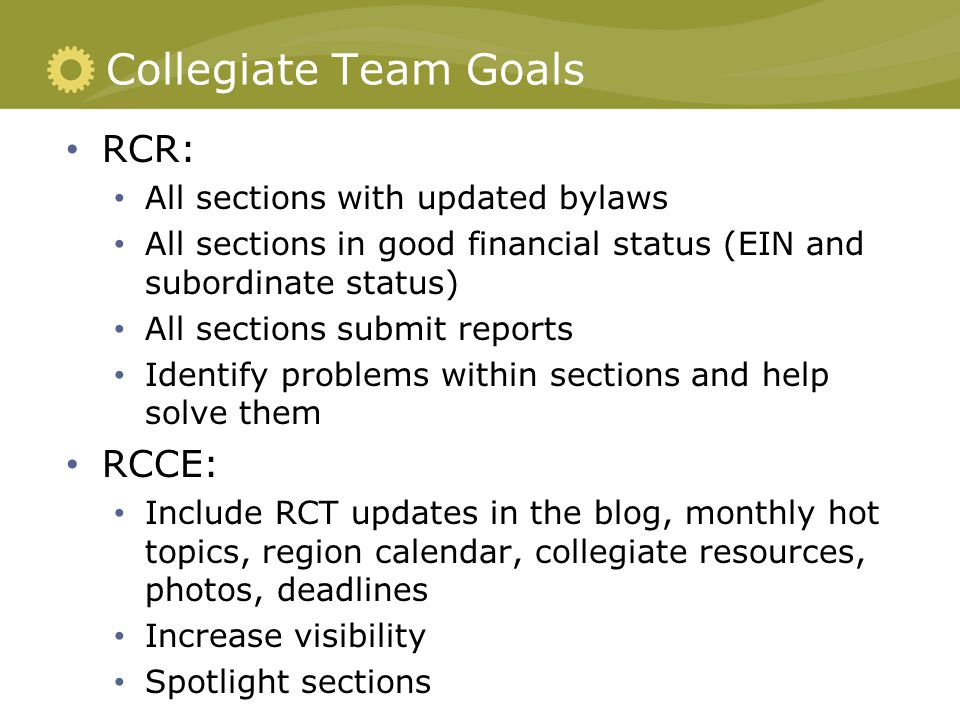 RCR Role Vital collegiate voice within the Region and to Region leaders in SWE.