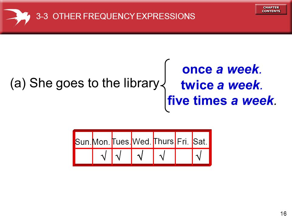16 (a) She goes to the library once a week. twice a week. five times a week. Sun.Mon. Tues.Wed. Thurs. Fri.Sat.    3-3 OTHER FREQUENCY EXPRESSIO