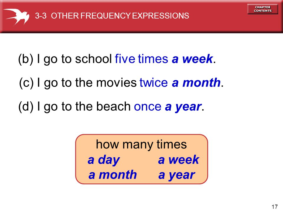 17 (b) I go to school five times a week. (c) I go to the movies twice a month. (d) I go to the beach once a year. 3-3 OTHER FREQUENCY EXPRESSIONS how