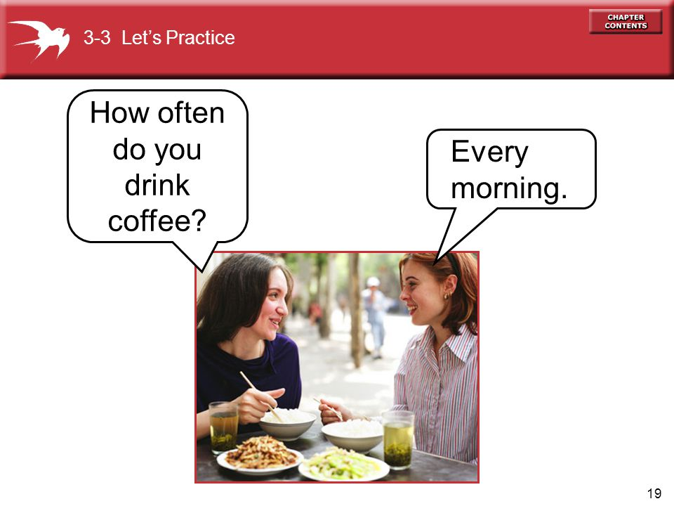 19 How often do you drink coffee? 3-3 Let's Practice Every morning.