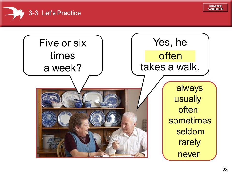 23 Yes, he takes a walk. Five or six times a week? 3-3 Let's Practice often always usually often sometimes seldom rarely never