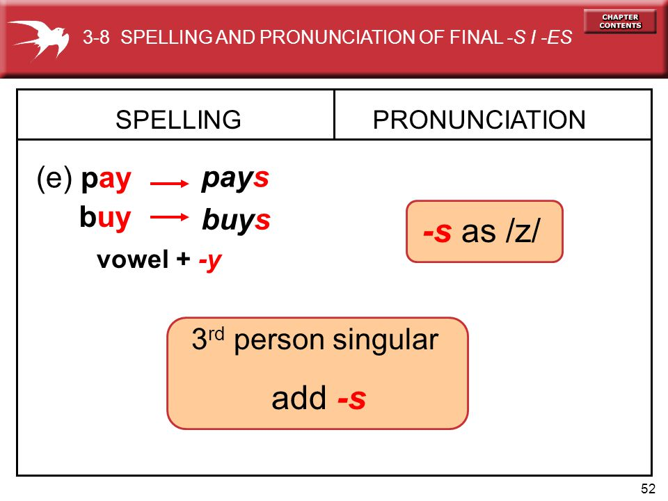 52 SPELLING (e) pay PRONUNCIATION pays buy buys 3-8 SPELLING AND PRONUNCIATION OF FINAL -S I -ES 3 rd person singular add -s -s as /z/ vowel + -y