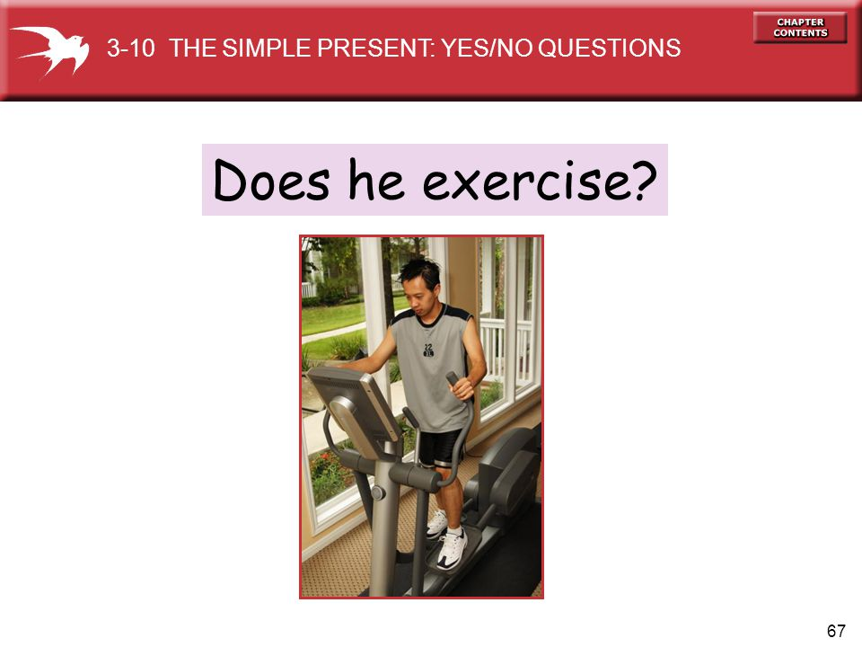 67 Does he exercise? 3-10 THE SIMPLE PRESENT: YES/NO QUESTIONS