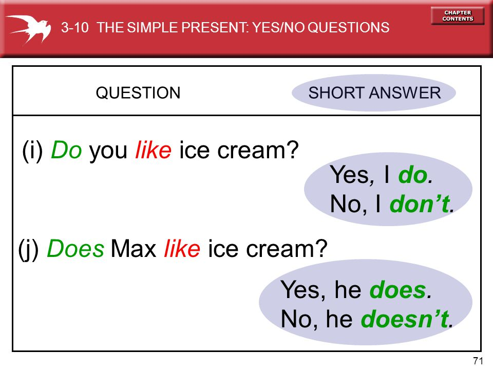 71 QUESTION SHORT ANSWER (i) Do you like ice cream? Yes, I do. No, I don't. (j) Does Max like ice cream? Yes, he does. No, he doesn't. 3-10 THE SIMPLE