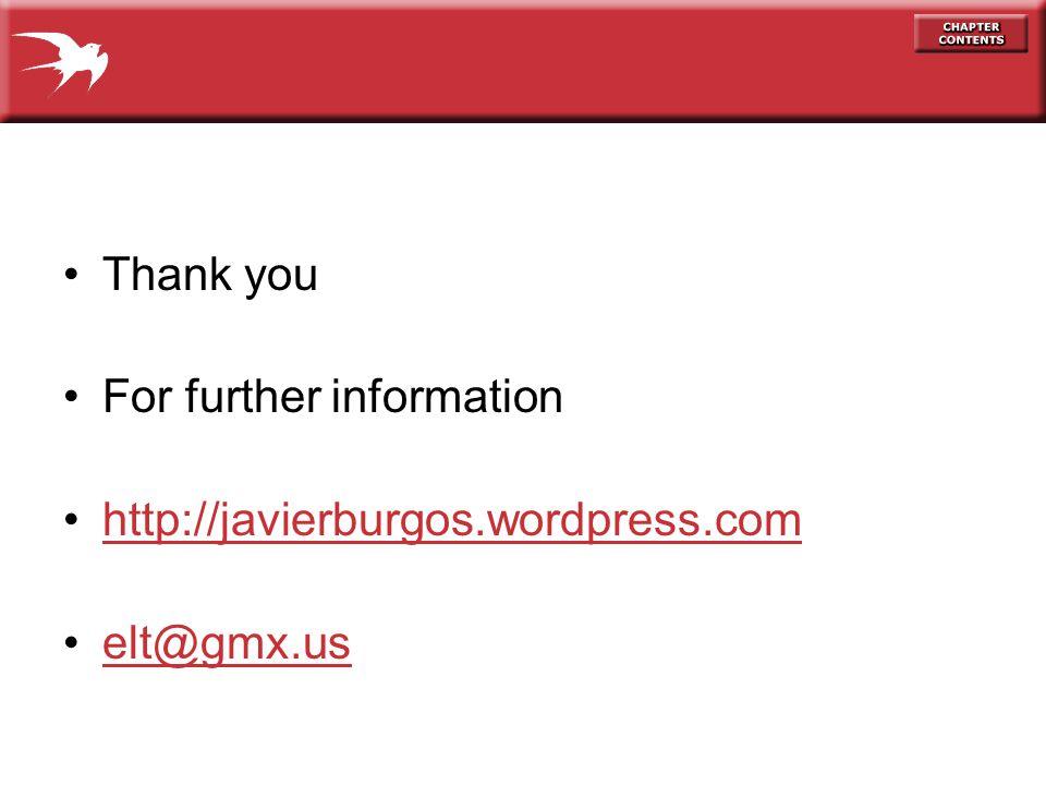 Thank you For further information http://javierburgos.wordpress.com elt@gmx.us