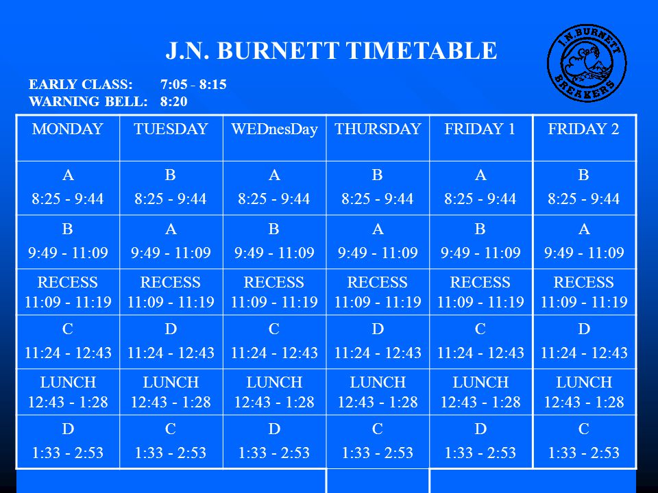 J.N. BURNETT TIMETABLE EARLY CLASS: 7:05 - 8:15 WARNING BELL: 8:20 MONDAYTUESDAYWEDnesDayTHURSDAYFRIDAY 1FRIDAY 2 A 8:25 - 9:44 B 8:25 - 9:44 A 8:25 -