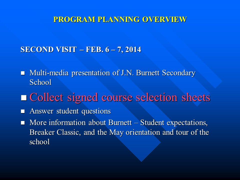 PROGRAM PLANNING OVERVIEW SECOND VISIT – FEB. 6 – 7, 2014 Multi-media presentation of J.N.
