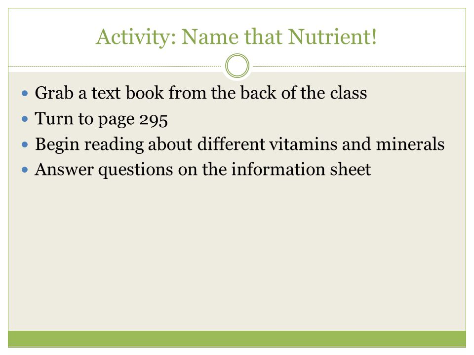 Activity: Name that Nutrient.