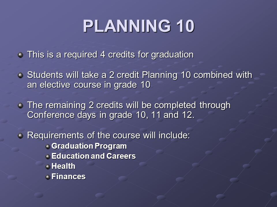 PLANNING 10 This is a required 4 credits for graduation Students will take a 2 credit Planning 10 combined with an elective course in grade 10 The remaining 2 credits will be completed through Conference days in grade 10, 11 and 12.