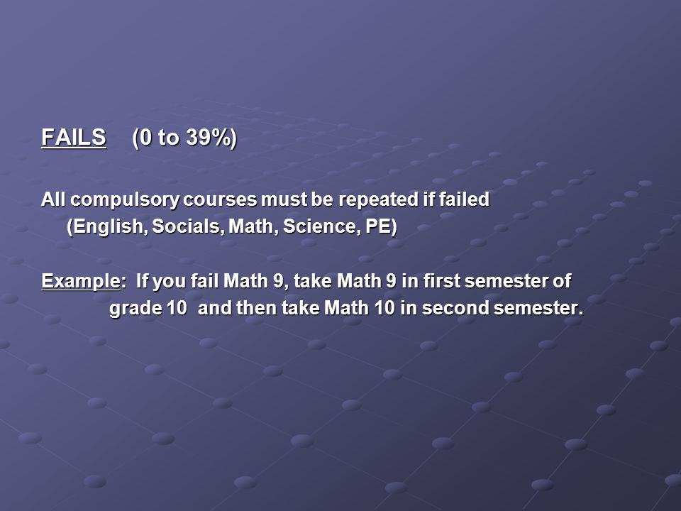 FAILS (0 to 39%) All compulsory courses must be repeated if failed (English, Socials, Math, Science, PE) Example: If you fail Math 9, take Math 9 in first semester of grade 10 and then take Math 10 in second semester.