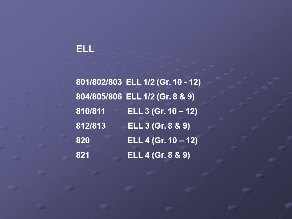 ELL 801/802/803 ELL 1/2 (Gr. 10 - 12) 804/805/806 ELL 1/2 (Gr.