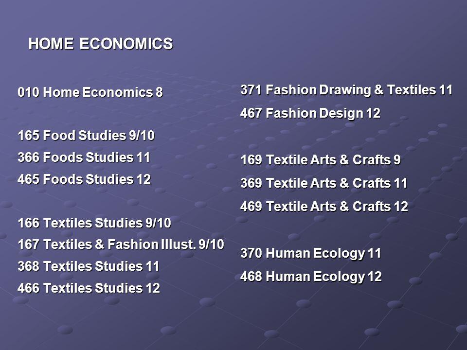 HOME ECONOMICS 010 Home Economics 8 165 Food Studies 9/10 366 Foods Studies 11 465 Foods Studies 12 166 Textiles Studies 9/10 167 Textiles & Fashion Illust.