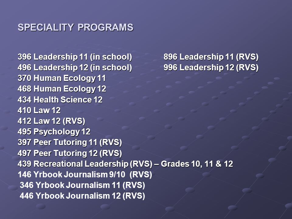 SPECIALITY PROGRAMS 396 Leadership 11 (in school)896 Leadership 11 (RVS) 496 Leadership 12 (in school)996 Leadership 12 (RVS) 370 Human Ecology 11 468