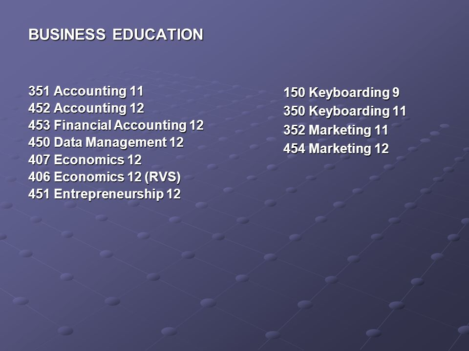 BUSINESS EDUCATION 351 Accounting 11 452 Accounting 12 453 Financial Accounting 12 450 Data Management 12 407 Economics 12 406 Economics 12 (RVS) 451