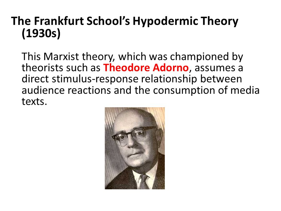 The Frankfurt School's Hypodermic Theory (1930s) This Marxist theory, which was championed by theorists such as Theodore Adorno, assumes a direct stim