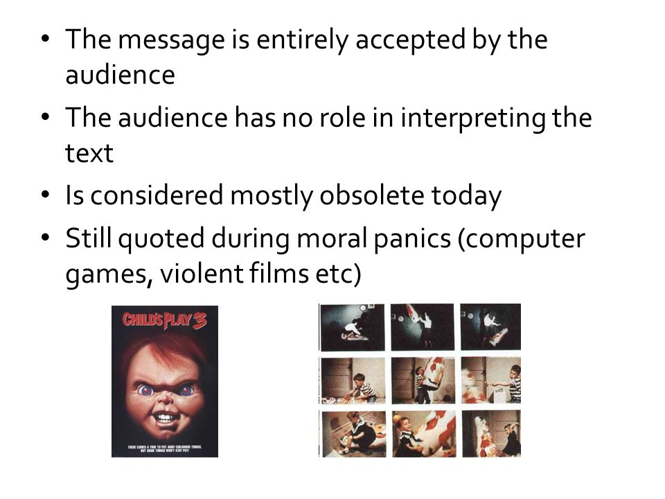 The message is entirely accepted by the audience The audience has no role in interpreting the text Is considered mostly obsolete today Still quoted du