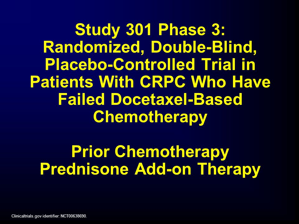 Study 301 Phase 3: Randomized, Double-Blind, Placebo-Controlled Trial in Patients With CRPC Who Have Failed Docetaxel-Based Chemotherapy Prior Chemotherapy Prednisone Add-on Therapy Clinicaltrials.gov identifier: NCT
